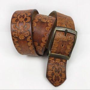 Vintage Tooled Leather Floral Brown Belt Size 36